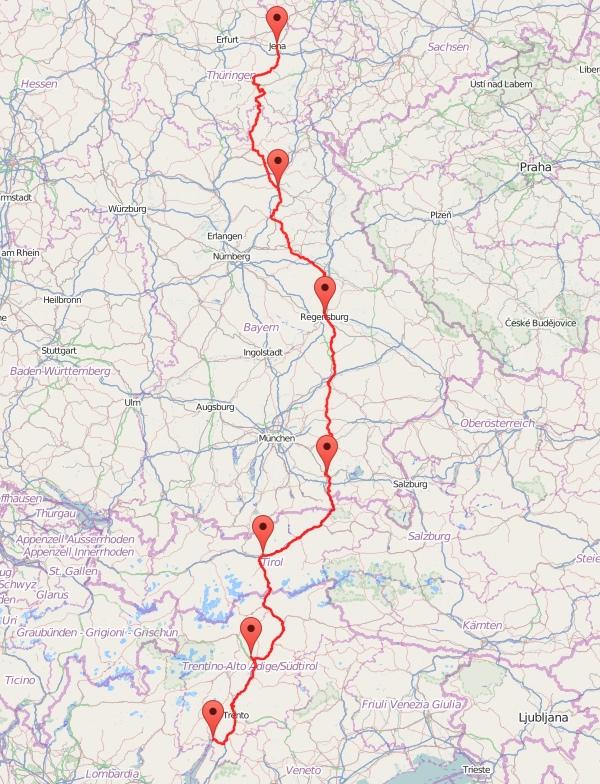 Jena-Gardasee - Karte