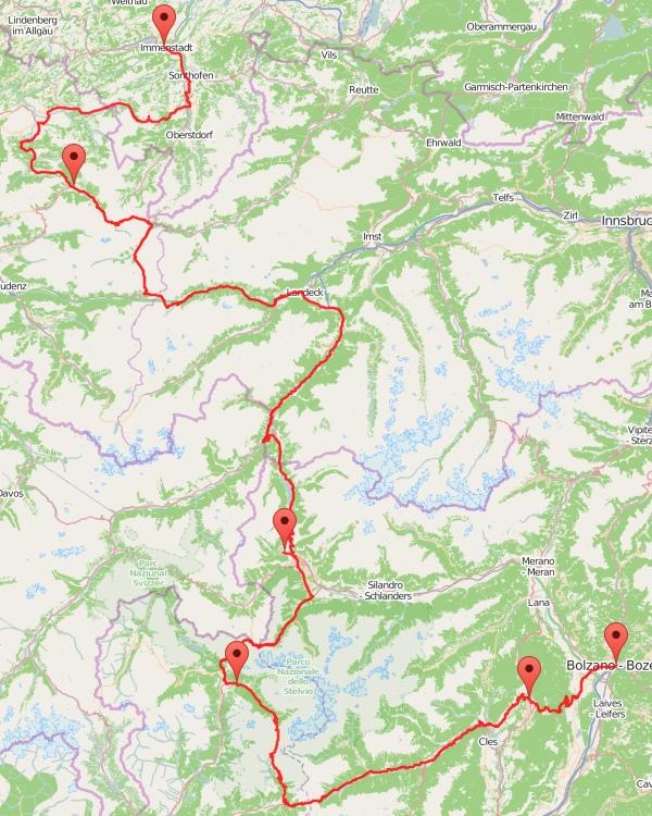 Radtour Alpen - Karte
