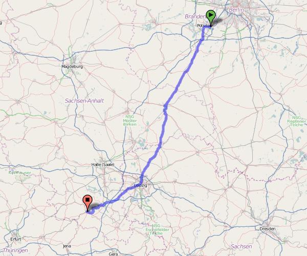 Radtour Potsdam-Jena - Karte