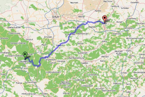Radtour Zella-Mehlis - Jena (Karte)