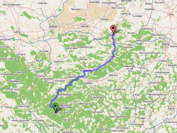 Radtour Siegmundsburg-Jena Karte