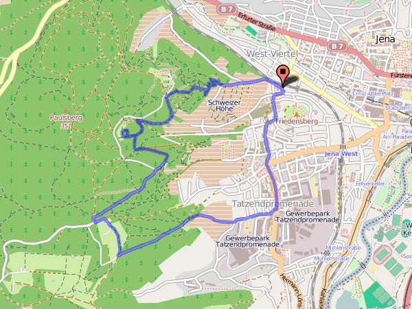 Waldpfad Schlauer Ux - Karte