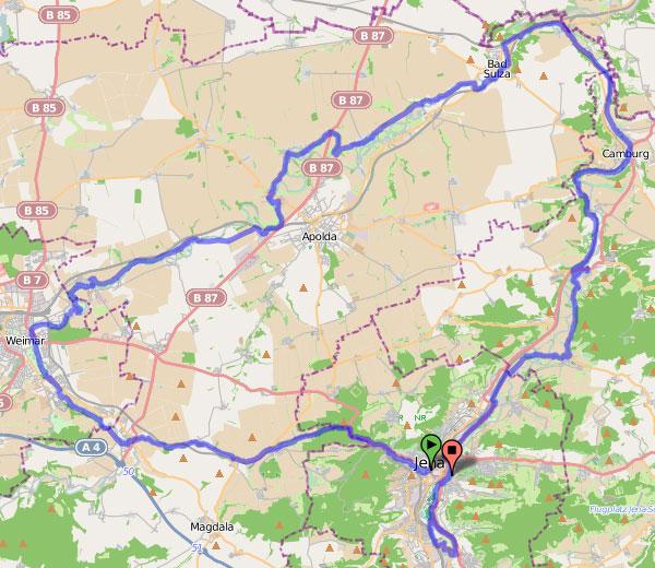 Radtour Saaleplatte Karte