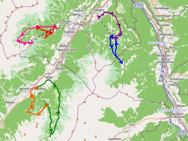Wanderurlaub Stubai - Karte