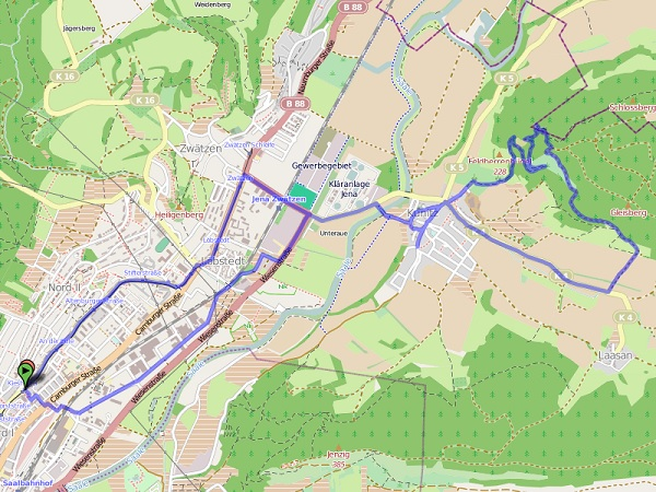 Karte Kunitzburg-Wanderung