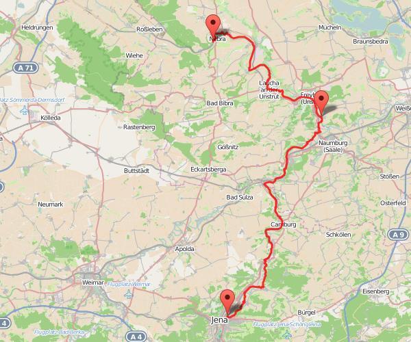 Radtour Saale-Unstrut (Karte)