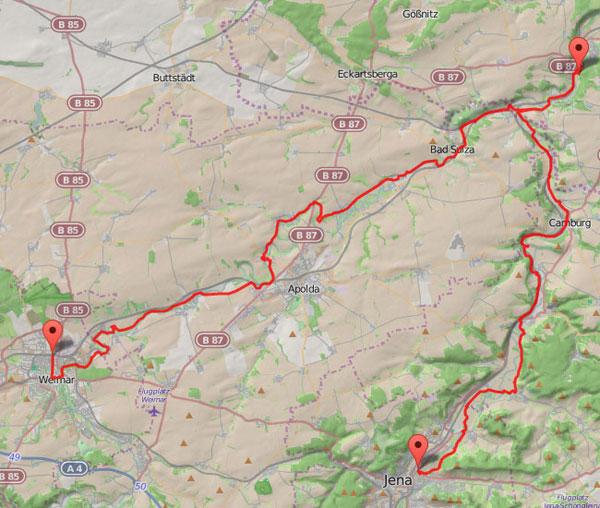 Radtour Saale-Ilm Karte