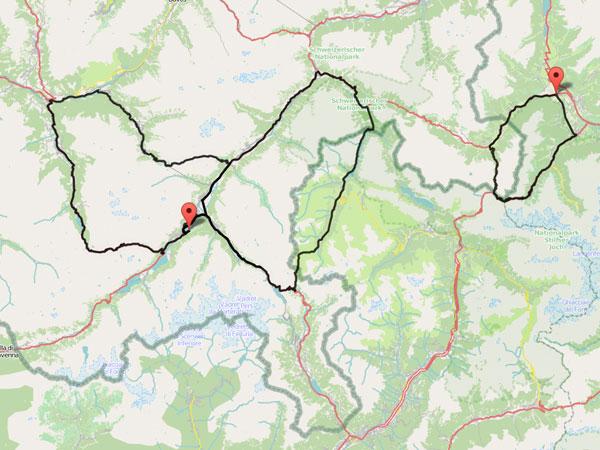 Radtour Engadin 2015 Karte