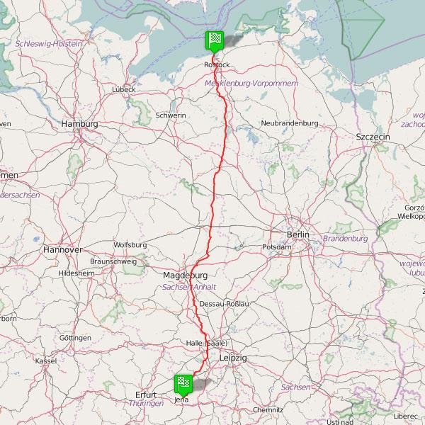 Radtour Jena-Rostock Karte
