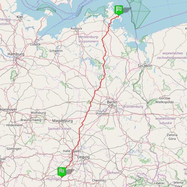 Radtour Jena-Binz Karte