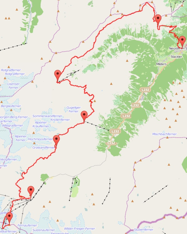 Wanderung Stubaital - Karte